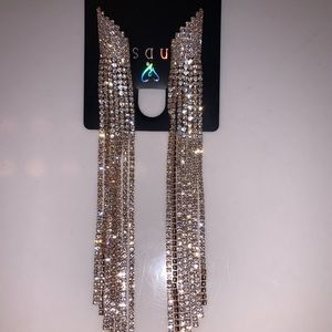 Radiant Rhinestone Fringe Earrings